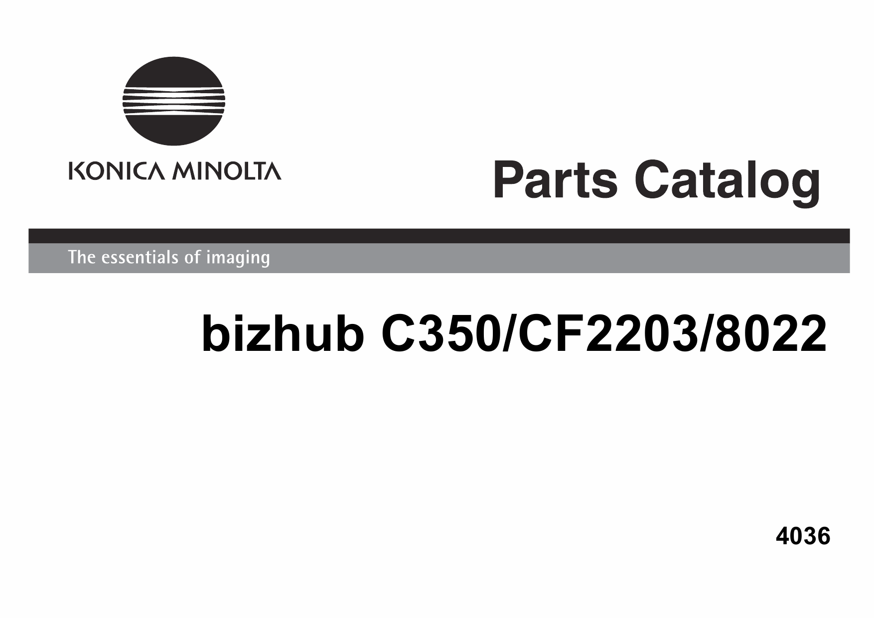 Konica-Minolta bizhub C350 CF2203 8022 Parts Manual